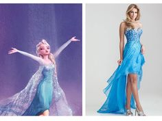 WWEW: What Would Elsa Wear? The fierce Snow Queen would rock a blue sequins and a peek-a-boo hemline like this sparkly high-low dress. Night Moves Sparkly Sequined Strapless High Low Prom Dress, $378, missesdressy.com - Seventeen.com