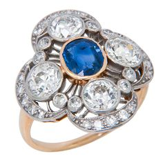 Edwardian Diamond and Sapphire Ring, ca. 1920
