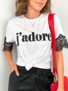 T-shirt j Adore Fashion 2020, Diy Fashion, Fashion Outfits, Womens Fashion, Shirt Print Design, Shirt Designs, Refashion, Diy Clothes, Plus Size Fashion
