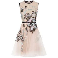 Elie Saab Floral Embroidered Tulle Dress (26.970 RON) ❤ liked on Polyvore featuring dresses, pink dress, embroidered flower dress, elie saab, floral embroidered tulle dress and round neck dress