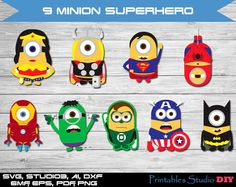 9 Minion Superhero - svg Batman, Captain America, Green Lantern, Hulk, cuttable Cricut Design Space, Digital Cut Files, dxf studio3 clipart