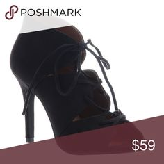 "Black Lace Up Heels These beautiful heels measure 3.75"" in height.  The shaft height is 3.15"". These black stiletto sandals are made from all man made materials. Box included. Price is firm unless bundled. madeline  Shoes Heels"