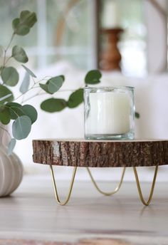 How to make a footed wood slice tray. Inspired by West Elm for fraction of the cost.