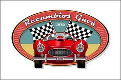 """Creación de logotipo vintage con diseño vectorial de un auto """"retro"""" para Recambios Gavà."""