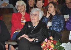Holocaust survivor Ruth Bondy at a Yad Vashem symposium dedicated to her work, 18 December 2011