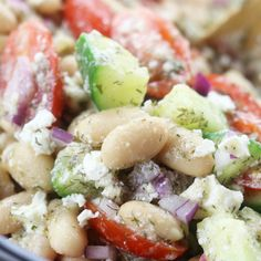 Quick and healthy, Lemon White Bean Salad is perfect as a refreshing lunch, side dish or party salad. Takes just minutes to assemble making eating well on busy days so much easier. Bean Salad Recipes, Veggie Recipes, Vegetarian Recipes, Veggie Food, Dinner Recipes, Easy Mediterranean Diet Recipes, Mediterranean Dishes, Medditeranean Diet, Diet Foods