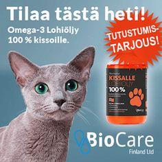 MAINOS/COMMERCIAL! Kissalle Omega-3 Lohiöljy 100 % sisältää runsaasti omega-3-rasvahappoja (EPA ja DHA), jotka auttavat aivojen kehittymisessä, hoitavat niveliä ja pitävät ihon terveenä sekä turkin ja tassut kunnossa. http://urly.fi/AC4