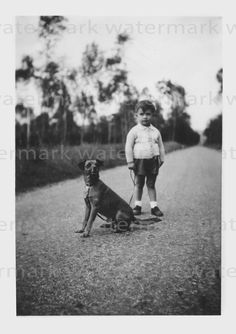 Vintage Photograph of Little Boy with his Dog. Digital Download