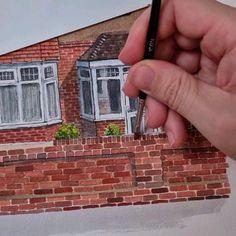 Watercolor Art Landscape, Watercolor Art Lessons, Watercolor Painting Techniques, Watercolor Drawing, Painting & Drawing, Architecture Drawing Art, Watercolor Architecture, Flat Brush, Art Drawings Sketches Simple