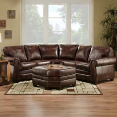 Living Room on Bombay Arm Brown Leather Sofa Sectional Living Room ...