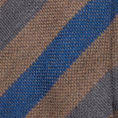 Handrolled Wool Stripe Tie - Brown/Blue/Grey