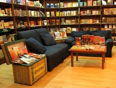 bookstore interior. I like the comfortable seating. Lots of books, though.