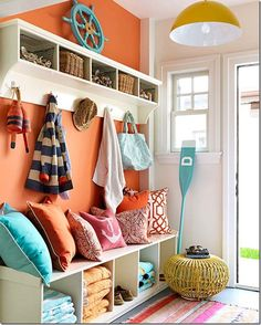 Lake house --I want to do something similar by the front door or on the screen porch for lake things