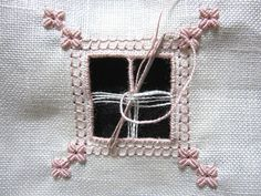 Hardanger Embroidery Design biscornu in openwork with beautiful needle lace - very pretty - full tutorial includes video Hardanger Embroidery, Learn Embroidery, Ribbon Embroidery, Embroidery Thread, Flower Embroidery Designs, Embroidery Patterns, Bookmark Craft, Drawn Thread, Point Lace