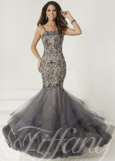 e30d980992f2 Tiffany 16280 Elegant Beaded Mermaid Style Gown - Prom Gown - Pageant Dresses  Dress Hairstyles,
