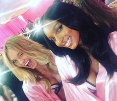 Pin for Later: Gigi Hadid, Kendall Jenner, and More Are Getting Their Victoria's Secret Angel On Backstage  Romee Strijd and Jasmine Tookes