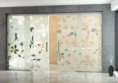Celoskleněné dveře TRIX HEAVY dvoukřídlé (posuv po skleněné příčce) Sandblasted Glass, Glass Door, Curtains, Doors, Shower, Prints, Design, Folding Screens, Bath