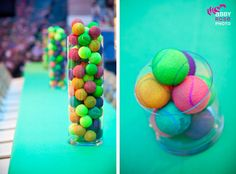 tennis ball centerpieces | tennis ball centerpieces on the kids tables! LOVE it