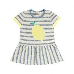 Yummy Lemon Striped Dress Blue  Blune Kids