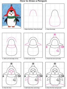 Here's a chubby little penguin to draw, decked out in a cute hat and scarf. I think the symmetrical shapes are good practice for young artists, and the hat and scarf allow for some fun personification. • View and download Penguin Tutorial