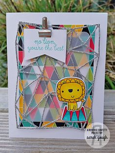 Card by Sarah Gough. Reverse Confetti stamp set: Leaping Lions. Confetti Cuts: Leaping Lions, Geometric Background, Documented and Layered Banner Duo. Quick Card Panels: Piña Colada. Birthday card. Friendship card. Encouragement card. Circus theme.