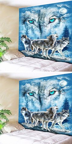 fall decor ideas:Snowy Night Wolves Print Tapestry