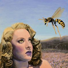 Original painting on canvas Audrey Totter retro insect wasp art Jane Ianniello