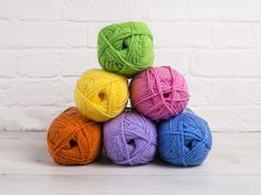 Stylecraft Special DK 60s Colour Pack in the following shades:  Citron, Aster, Grass Green, Fondant, Spice, Wisteria, inspired by the bright pop colours of the swinging sixties, this fun colour pack would create a fantastic baby blanket. Or buy a couple of packs and use them to create a large wavy, crocheted blanket, perfect to transport you back to the sixties!