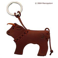 Miniature Leather Keychains: TORO - Bull Italian All Leather Key Chain