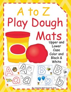 These play dough mats are designed to help pre-k and kindergarten students with letter recognition and fine motor skills.  You can laminate the whole sheet or cut them in half and laminate the capital letter and lower case letter separately.  They can also be used for tracing or sorting.