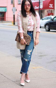 Plaid Shirt + Drapey Vest + Girlfriend Jeans