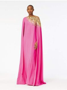 Purchase Embroidered Illusion And Stretch-Georgette Cape-Back Caftan featured by Oscar de la Renta in shp w/ gold. - Scroll down your favorite shopping street. Latest African Fashion Dresses, African Print Fashion, African Prints, Abaya Fashion, Kimono Fashion, Women's Fashion, Kaftan Gown, Silk Kaftan, Green Chiffon Dress
