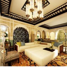 moroccan painting technique walls   Moroccan Theme Living Room Decorating Ideas With White Sofa Beautiful ...