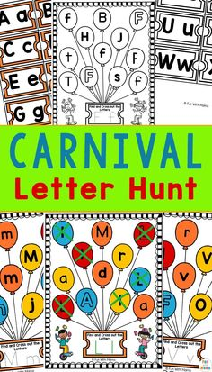 The theme of this carnival letter hunt is such a great way to incorporate more preschool letter worksheets into your child's life! Great for early learning! Educational Activities For Toddlers, Phonics Activities, Alphabet Activities, Classroom Activities, Letter Worksheets For Preschool, Preschool Literacy, Preschool Letters, Abc Coloring Pages, Abc Phonics