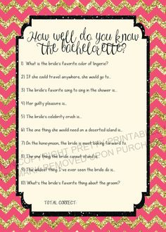 FUN bachelorette quiz game for your bachelorette party! Instanly download and print via Pretty Printables Ink on Etsy