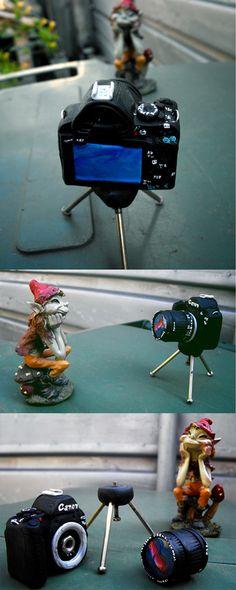dslr canon camera with tripod