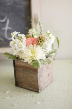 pink flowers weathered wood planter box wedding