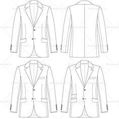 Men's Tailored Fit Jacket Fashion Flat Template #illySTUFF
