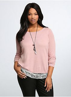 """<p>Peekaboo! We see you (looking amazing). A polished pink knit pullover (lightweight + so comfy = yes please) has lovely white lace peeking out underneath the hem. A tulip back exposes even more of the lace underlay (hide and seek with wayyyy better of a payoff).</p>  <p></p>  <p><b>Model is 5'11"""", size 1</b></p>  <ul> <li>Size 1 measures 27 1/2"""" from shoulder</li> <li>Cotton/rayon/nylon</li> <li>Hand wash cold, dry flat</li> <li>Imported plus size top</li> </ul>"""