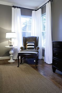 M's room - Exactly what i want to do for the office with my black furniture white curtains but maybe a little darker color grey. Love the gray combo with the white and blue-and the floors. I think this might be our remolded bedroom. Curtains For Grey Walls, Corner Curtains, Curtains Living, White Curtains, Corner Curtain Rod, Bedroom Corner, Master Bedroom, Long Curtains, Gray Walls