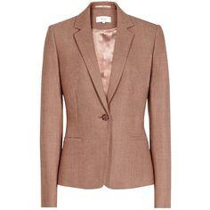 Reiss Tailored Peplum Jacket, Chestnut Melange ($300) ❤ liked on Polyvore featuring outerwear, jackets, short-sleeve jackets, blazer jacket, wool collar jacket, single breasted jacket and collar jacket