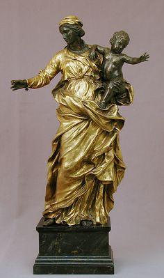 'Virgin and Child'. Alessandro Algardi (Italian, Bologna 1598–1654 Rome). Date: ca. 1650, Rome. Bronze, silvered and gilt; black/blue marble. 44.5 x 28.3 x 14.8 cm. -The Metropolitan Museum of Art, NY-