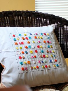 Craft buttons pillow | Blogged here | mpaecua | Flickr