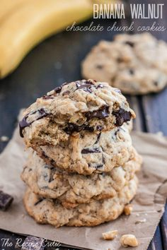 Banana Walnut Chocolate Chunk Cookies at http://therecipecritic.com  The most delicious way to use over ripe bananas!  These cookies are packed with bananas, walnuts, oats, and chunks of chocolate!  Perfection!