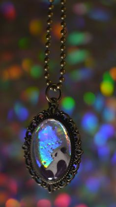 Vintage 90s skull hologram charm on gold chain the holodeck little panda embedded in resin on a 1 hologram pendant pendant hangs on a ball chain necklace mozeypictures Image collections