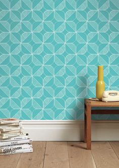 Rosette in Teal Wallpaper - i can see this wallpaper in a bathroom
