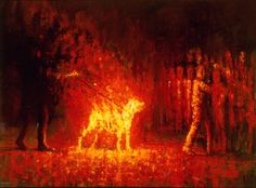 "Spyros Verykios; Painting, ""Burning Dog 2 / 1996"" #art"