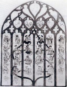 Dessin du vitrail d'origine (musée de Niort).- 26) EGLISE NOTRE-DAME DE NIORT: .. un arbre prenant racine dans son corps. Les branches et le feuillage sont les trônes de quelques rois d'Israël, reconnaissables à leur couronne et leur sceptre. David tient une harpe à tête de lion. 12 apôtres les encadrent. Au sommet, une Vierge à l'Enfant est entourée d'anges qui chantent sa gloire.