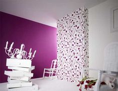 flowered stuff in her closet and the solid purple on one wall or ceiling?