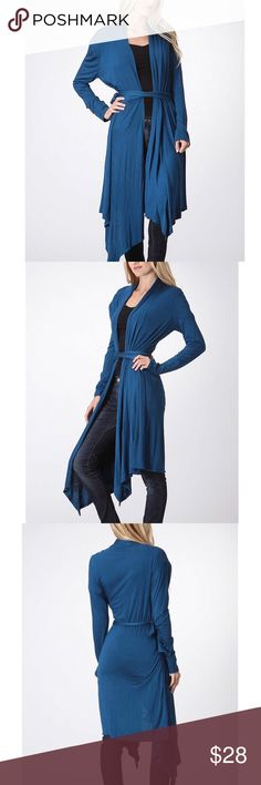 🎉NEW 🎉Teal Color Duster- Size XL- NWT💙 🎉NEW🎉JUST IN 💙 Gorgeous Teal Color Duster. Size XL.💙 Fits: Sizes-14/16. Wear with belt or open- & goes with everything.💙Super soft with some stretch.💙 Color us do beautiful💙 Material: 95% Rayon 5% Spandex. Great for gift for someone or yourself:) Will wrap as gift🎁 Bellino Clothing Sweaters Cardigans
